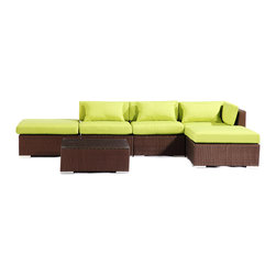 "Kardiel - Modify-It Outdoor Furniture Patio Sectional Chaise Poipu 6pc Sofa Set Lime Green - Poipu 6-piece set is a salute to clean contemporary style. The 6-piece Modify-It Poipu collection features an open-ended ultra stylish chaise sectional. A matching tempered glass coffee table grounds the setting. Extraordinary design stimulates the conversationalist and lounger alike. The flexible nature of Modify-It modular allows for customized reconfiguring of the layout at will. The design origins are Clean European. The elements of comfort are inspired by the relaxed style of the Hawaiian Islands. The Aloha series comes in many configurations, but all feature a minimalist frame and thick, ample modern cube cushions. The back cushions are consistent in shape, not tapered in to create the lean back angle. Rather the frame itself is specifically ""lean tapered"" allowing for a full cushion, thus a more comfortable lounging experience. The cushion stitch style utilizes smooth and clean hand tailoring, without extruding edge piping. The generously proportioned frame is hand-woven of colorfast, PE Resin wicker. The fabric is Season-Smart 100% Outdoor Polyester and resists mildew, fading and staining. The ability to modify configurations may tempt you to move the pieces around... a lot. No worries, Modify-It is manufactured with a strong but lightweight, rust proof Aluminum frame for easy handling."
