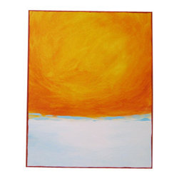 Bright Modern Medium Original Abstract Acrylic Painting - 16x20- Oranges, Cream, - Bright Orange Minimalist Abstract Landscape Painting on Canvas