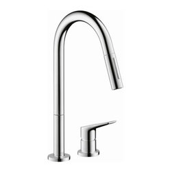 "Hansgrohe - Hansgrohe 34822001 Chrome Axor Citterio Axor Citterio M Pull-Down - Product Features:  All-brass faucet body and handle construction Fully covered under Hansgrohe s limited lifetime warranty Hansgrohe faucets are designed and engineered in Germany Superior finishing process - finishes will resist corrosion and tarnishing through everyday use Hansgrohe kitchen faucets offer the user a lifetime of luxurious operation Ergonomic pull-down with full and needle sprays Non-Locking spray diverter MagFit magnetic spray head docking Spout swivels 150-degrees providing greater access to more areas of the sink High arch spout design provides optimal room under the faucet for any size task M2 ceramic cartridge for a lifetime of smooth operation ADA compliant - complies with the standards set forth by the Americans with Disabilities Act for kitchen faucets Low lead compliant - meeting federal and state regulations for lead content  Product Specifications:  Overall Height: 16"" (measured from counter top to highest part of faucet) Spout Height: 8-3/4"" (measured from counter top to spout outlet) Spout Reach: 8-3/4"" (measured from center of faucet base to center of spout outlet) Number of Holes Required for Installation: 2 Flow Rate: 2.2 GPM (gallons-per-minute) Maximum Deck Thickness: 2-3/8"" Designed for use with standard U.S. plumbing connections All hardware needed for mounting is included with faucet  Product Technologies and Benefits:  QuickClean: Calcareous water, dirt, cleaning agents; faucets and showers have to be able to withstand a lot. QuickClean technology gives you the power to make residues disappear in an instant. With the silicon nozzles Hansgrohe has fitted to its faucet aerators an"