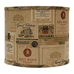 """Lamps Plus - Themed Wine Labels Drum Lamp Shade 12x12x10 (Spider) - This drum lamp shade features a cotton exterior with an overlapping wine label design and a chrome spider fitter for a touch of shine. An appealing accent shade to dress up a floor or table lamp. The correct size harp is included free with this purchase. Drum lamp shade. Cotton exterior. Wine label design. Spider fitter.  Unlined. Correct size harp included. 10"""" across the top. 12"""" across the bottom. 10"""" high.  Drum lamp shade.  Cotton exterior.  Wine label design.  Spider fitter.  Unlined.  Correct size harp included.  12"""" across the top.  12"""" across the bottom.  10"""" high."""