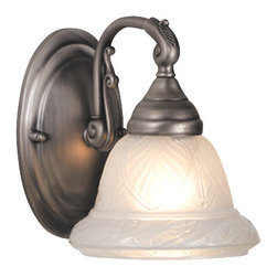 """Meyda - 6.5""""W Carlisle 1 Lt Sconce - Leaf patterned clear etched glass shades are thehighlight of this classically handsome satin pewterfinished 1 light sconce. The cool colors andtraditional styling make this transitional fixtureadaptable to a variety of decorating styles. Bulb type: med bulb quantity: 1 bulb wattage: 60"""