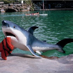 Grand Great White Shark Home Garden Pool Sculpture Statue Figurine - Who wouldn't want this guy just hanging out by the pool? He's so helpful for holding towels.