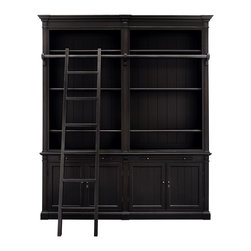 Athens Library - Enchanting vintage silhouettes with simple lines and rich finishes infuse your space with the ambiance of an old English library. Athens includes a grand bookcase featuring an authentic library-style ladder sliding on a solid brass bar and a cabinet base with drawers for extra storage.