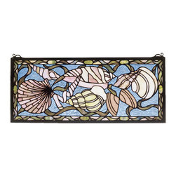 """Meyda - 24""""W X 10""""H Seashell Stained Glass Window - This meyda tiffany original window features sandbeige and shell pink seashells with kelp green ribbonsthat float on a clear blue rippled glass sea.handcrafted utilizing the copperfoil constructionprocess and 319 pieces of stained art glass encased ina solid brass frame. Mounting bracket and jack chainincluded."""