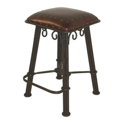 New World Trading - Western Counter Stool in Serpentine Wrought Iron w Hand-Tooled Riveted Leather S - This counter stool makes a pleasant nod to yesteryear while supplying modern, pampered comfort. Backless design is ideal for your eat-in, dining area or living spaces. Serpentine wrought iron base brings authentic character and unmatched durability. Leather upholstered seat has rivet accents. Hand tooled leather seat. With nailheads pattern. 16 in. L x 16 in. W x 26 in. H (26 lbs.)