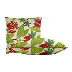 "Cushion Source - Bright Floral Fuchsia Throw Pillow Set - The Bright Floral Fuchsia Throw Pillow Set consists of two 18"" x 18"" throw pillows with a beautiful floral pattern in raspberry, aqua, and green on an off-white background."