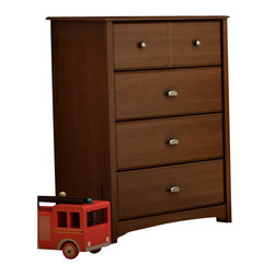 South Shore - South Shore Nathan Kids 4 Drawer Chest in Sumptuous Cherry Finish - South Shore - Chests - 3356034 - The Nathan Chest is crafted from engineered wood products ina Sumptuous Cherry finish. This kid's chest features sculpted lines metalhandles cut-out feet and four drawers to store all your kid's clothing toysand other valuables. The Nathan Chest appears to be simple in design but it isin the details that give it an exquisite appeal.The Nathan Collection by South Shore Furniture offers traditional styling with a touch of contemporary design elements. This collection of children's furniture features metal handles a decorative kickplate and extensive closed and open storage spaces for toys clothing and other items. With a rich Sumptuous Cherry finish the South Shore Furniture Nathan Collection is sure to garner praise from all who see it.Features: