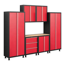 Newage Products - NewAge Products Bold Series 7-Piece Cabinetry Set Red - The Bold Series is an excellent solution for the small workshop or garage. Keep your garage clean and clutter-free while maximizing your garage storage space. The Bold Series cabinets keep belongings behind locked doors.