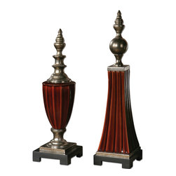 Uttermost - Bay Ceramic Finials, Set of 2 - So much more than shelf sitters, these shapely finials add visual interest to wherever you place them. Decorate your desk, set them on a console, place them side-by-side or at opposite ends for a polished touch.