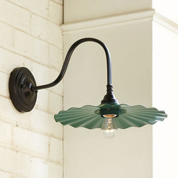 Ballard Designs - Logan Goose-Neck Outdoor Wall Sconce, Green - The shape of this outdoor light is so beautiful. I would love to have a set in my outdoor sunroom to add extra light to my early morning coffee.