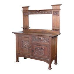 Antiques - Antique Oak Art Nouveau Buffet Sideboard Server - Origin: England