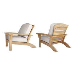 Douglas Nance - Set of 2, Douglas Nance Augusta Deep Seating Club Chairs, Natural - Douglas Nance Augusta is a leap away from the ordinary. This collection combines the Americana feel of an Adirondack chair with the grand comfort and style of fine teak deep seating furniture - and it reclines! Includes made-to-order Sunbrella cushion.
