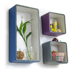 Blancho Bedding - Fashion Element Rectangle Leather Wall Shelves, Set of 3 - These rectangle wall cube shelves add a new and refreshing element to your room and can be easily combined with other pieces to create a customized wall space. You can hang them on the wall, or have them stand on table or floor, any way you like. Coming in various colors and sizes, they spice up your home's decor, add versatility, and create a whole new range of storage spaces. Perfect for wall mounting, these modern display floating shelves are sure to delight. Constructed from MDF with a top faux leather wrapping. Fashion forward design has never been so functional. This range of faux leather storage cubes is sure to delight! Easy to mount, easy to love! Attractive shelf boxes give any wall in your home a striking appearance. Arrange in whatever fashion you like - whether it be grouped together or displayed separately. Each box serves as a practical shelf, as well as a great wall decoration.