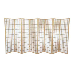 Oriental Furniture - 5 ft. Tall Window Pane Shoji Screen - Natural - 8 Panels - A modern take on a classic Japanese design, this Shoji screen is one of our most popular room dividers. Hand constructed from fiber-reinforced Shoji rice paper and Scandinavian spruce, these allow diffused light without sacrificing privacy. The simple, elegant design fits in with any style of home furnishing and is perfect for sectioning off part of a room, keeping things removed from sight, or even just adding an East Asian accent to your decor.
