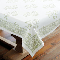 Ballard Designs - Edie Block Print Tablecloth - Made of 100% cotton. Colors coordinate with our Brigitte Dinnerware & Serveware. Monogram available.. Monogram will be placed in the bottom center of one end of the table runner. Monogram will be placed in one corner of each napkin. With soothing neutral tones and traditional Indian block print motifs, our Edie Block Print Table Linen Collection brings a casual elegance to any table. Available in Oyster, Sage, Spa or Indigo, each color has its own pattern. Patterns mix and match for a beautifully coordinated look. Edie Block Print Table Linen Collection features: . .  . . . Machine wash.