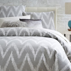 Organic Chevron Duvet Cover, Platinum - The college years are a great time to experiment with style and have fun with your bedding. These fun chevron linens and covers are great.