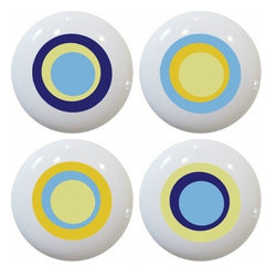 Carolina Hardware and Decor, LLC - 4 Blue Retro Circle Ceramic Knobs - Set of four new 1 1/2 inch ceramic cabinet, drawer, or furniture knobs with mounting hardware included. Also works great in a bathroom or on bi-fold closet doors (may require longer screws).  Items can be wiped clean with a soft damp cloth.  Great addition and nice finishing touch to any room.