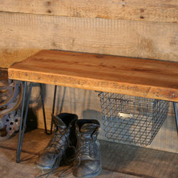 Reclaimed Wooden Bench w/hairpin legs and Locker Basket/ Lifetime Guarantee -