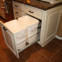 KITCHEN PULL-OUT RECYCLING TRASH CABINET - Call us for an estimate!