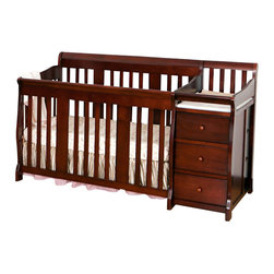 Stork Craft - Stork Craft 4-in1 Portofino Crib & Changer Combo in Cherry - Stork Craft - Cribs - 04586474 - The beautiful solid construction of the Portofino 4 in 1 Fixed Side Convertible Crib Changer by Stork Craft with its magical sleigh design makes this a royal centerpiece for your nursery.  All four sides are stationary and include an adjustable three position mattress support base to add to the security and stability of this versatile crib.   It has a well built construction made of solid wood and wood products offered in a selection of non toxic durable finishes. Designed for multiple stages of life; it converts from a full size crib to a toddler bed to a daybed to a full-size bed (bed rails not included).  The attached changer is designed with safety in mind with an extra deep surface for added security and stability while changing your baby. Complete your nursery look by adding an assortment of matching accessories: a chest dresser or glider and ottoman by Stork Craft.   Set-up this extravagant piece effortlessly with it's easy to follow directions into a crib that's perfect for your babies' sweet delicate slumber. Features: