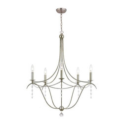 Crystorama Lighting - Crystorama Lighting 435-SA Metro Transitional / Eclectic Chandelier - Crystorama Lighting 435-SA Metro Transitional / Eclectic Chandelier In Antique Silver With Clear Glass Beads Crystal