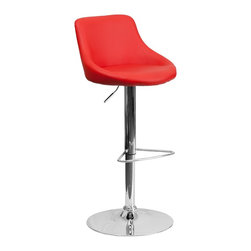 Flash Furniture - Flash Furniture Barstools Residential Barstools X-GG-DER-DOM-82028-HC - This dual purpose stool easily adjusts from counter to bar height. The bucket seat design will make this a great accent chair around the bar area or kitchen. The easy to clean vinyl upholstery is an added bonus when stool is used regularly. The height adjustable swivel seat adjusts from counter to bar height with the handle located below the seat. The chrome footrest supports your feet while also providing a contemporary chic design. [CH-82028-MOD-RED-GG]