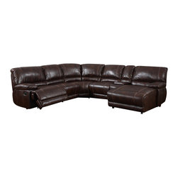 Global Furniture USA - U1953 Brown Bonded Leather Sectional Sofa With Built-in Recliner - The whole family can settle in and get comfortable on the U1953 Sectional Sofa. This sectional comes upholstered in a beautiful brown bonded leather. High density foam is placed within the sectional for added comfort. The perfect addition to your family room this sectional has plenty of room for everyone. it also features two reclining seats for maximum comfort and relaxation.