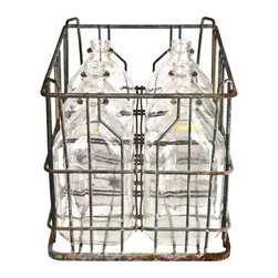 """Used Galvanized Wire Crate & 6 Glass Cream Top Bottles - Vintage galvanized wire milk crate with six glass """"Cream Top"""" milk bottles. Each bottle is 10"""" h x 5.5"""" w x 4"""" d and holds one half gallon. Carrier measures 14.5 """"l x 11.5"""" w x 11"""" h."""