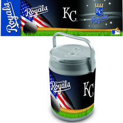 Picnic Time - Kansas City Royals Can Cooler - The Can Cooler by Picnic Time is a hard-sided cooler and large beverage can replica that also doubles as a seat. It holds ten 12-oz. cans and has a 9 quart capacity. It features a snugly fitting, fully removable lid and folding handle. Perfect for the beach, patio, tailgating, parties, and sporting events.; Decoration: Digital Print; Includes: 1 removable lid