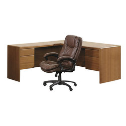 Bush - Bush Northfield Wood Return Desk in Dakota Oak Finish - Bush - L/R returns - EX17510 - The Bush Furniture Northfield return transforms your Northfield executive desk into an expansive L-desk. It can be used as a right- or left-sided return and requires removing one pedestal from the Double Pedestal Northfield desk.