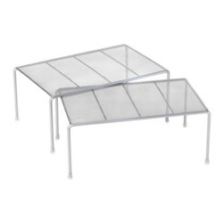 Seville Classics - Metal Mesh 2-Piece Expandable Cabinet Shelf Set - These expandable metal mesh cabinet shelves instantly create additional storage space. Perfect for any pantry or for placing dishware, they can be placed inside a cabinet or on a kitchen countertop.