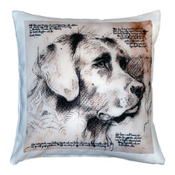 Pillow Decor - Leonardo's Dogs Labrador Dog Pillow - Created in the style of a Leonardo da Vinci sketch, this image of a Labrador is applied to a wonderfully soft and natural feeling indoor/outdoor poly-linen fabric. This Labrador Dog Pillow makes a great gift for anyone who owns and loves this breed. Or incorporate this pillow into your own home to celebrate the unconditional affection that your dog shares with you. A Leonardo's Dogs original.