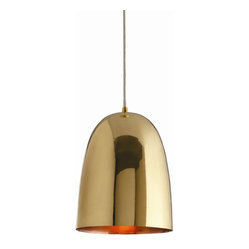 Arteriors - Savoy Large Pendant - A combo of brass and copper make this bell-shaped fixture a must for your favorite setting. The glow it gives is so warm and welcoming — consider it for your kitchen island to lend the space a gather-round quality.