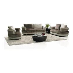 Multi Toned Brown Microfiber Sofa Set (Sofa, Loveseat and Chair) - VIG Furniture -