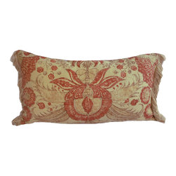 """Interior Nature - Luxury Screenprint Pillow - Double-Sided - Of Indienne style fabrics woven through the centuries, this one captures the rustic character of that beautifully aged provincial wall that you wish could be in your own home. The floral features painted onto the surface stand out for their originality of scale and shape while still rooted in their Indian influence, a hallmark of fabrics for centuries. 1st Side: U.K.'s Greeff screen print Calicut fabric. 66% linen, 34% cotton. 2nd Side: Kravet by Andrew Martin screen print Jahangir fabric, made in England. 100% cotton. Both fabrics printed in a matching rustic brick red. 100% silk fringe from 1980's Paris. Feather/down insert. 11"""" x 21""""."""
