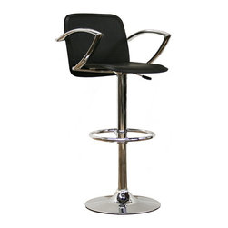 Baxton Studio - Baxton Studio Carmen Black Faux Leather Bar Stool - This sleek, contemporary bar stool has a contemporary style fitting for a minimalistic kitchen or bar area, and the features you need to make eating and entertaining as enjoyable as can be. Each stool is built on a steel base for dependable support, a gas lift piston for height adjustability, and 360 degree swivel for perfect positioning. Additional comfort is added with a footrest and matching armrests. Stylish chrome finish and durable black faux leather are easy to wipe clean to maintain unmatchable style. Assembly is required.