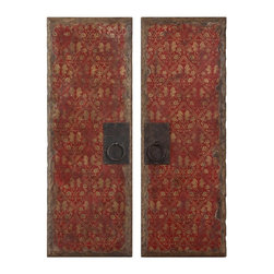 Uttermost - Red Door Panels, Set of 2 - These vibrant oil reproductions feature distressed wood tone edges and aged metal door handles.