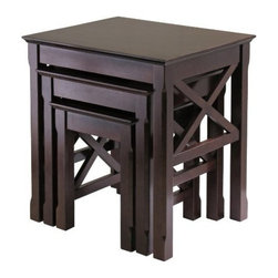 Winsome Wood - Xola Nesting Table, Set of 3 - Our Xola Nesting Table is wonderful addition to your room to display or use it. Cross on end panels add a special touch to this great set. This tables is made up of combination of solid and composite wood.