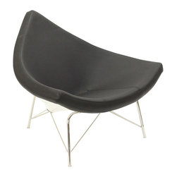 MODERN BLACK AND WHITE LOUNGE CHAIR CHINESE HAT - Modern black and white lounge chair Chinese Hat features a supportive steel base and triangular foam cushion, upholstered in fine aniline leather. The body of the chair is made of glossy white fiberglass.