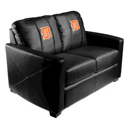 Dreamseat Inc. - Detroit Tigers MLB Orange Logo Xcalibur Leather Loveseat - Check out this incredible Loveseat. It's the ultimate in modern styled home leather furniture, and it's one of the coolest things we've ever seen. This is unbelievably comfortable - once you're in it, you won't want to get up. Features a zip-in-zip-out logo panel embroidered with 70,000 stitches. Converts from a solid color to custom-logo furniture in seconds - perfect for a shared or multi-purpose room. Root for several teams? Simply swap the panels out when the seasons change. This is a true statement piece that is perfect for your Man Cave, Game Room, basement or garage.
