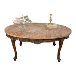 1940 Vintage Louis XV Style Marble Top Coffee Table - 1940 Vintage Louis XV Style Marble Top Coffee Table