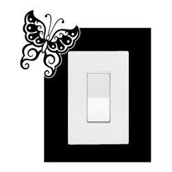 StickONmania - Lightswitch Butterfly Motif #3 Sticker - A vinyl sticker decal to decorate a lightswitch.  Decorate your home with original vinyl decals made to order in our shop located in the USA. We only use the best equipment and materials to guarantee the everlasting quality of each vinyl sticker. Our original wall art design stickers are easy to apply on most flat surfaces, including slightly textured walls, windows, mirrors, or any smooth surface. Some wall decals may come in multiple pieces due to the size of the design, different sizes of most of our vinyl stickers are available, please message us for a quote. Interior wall decor stickers come with a MATTE finish that is easier to remove from painted surfaces but Exterior stickers for cars,  bathrooms and refrigerators come with a stickier GLOSSY finish that can also be used for exterior purposes. We DO NOT recommend using glossy finish stickers on walls. All of our Vinyl wall decals are removable but not re-positionable, simply peel and stick, no glue or chemicals needed. Our decals always come with instructions and if you order from Houzz we will always add a small thank you gift.