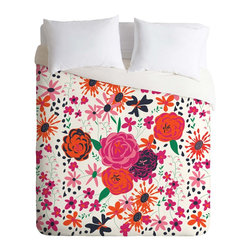 DENY Designs - DENY Designs Vy La Bloomimg Love 1 Duvet Cover - Lightweight - Turn your basic, boring down comforter into the super stylish focal point of your bedroom. Our Lightweight Duvet is made from an ultra soft, lightweight woven polyester, ivory-colored top with a 100% polyester, ivory-colored bottom. They include a hidden zipper with interior corner ties to secure your comforter. It is comfy, fade-resistant, machine washable and custom printed for each and every customer. If you're looking for a heavier duvet option, be sure to check out our Luxe Duvets!