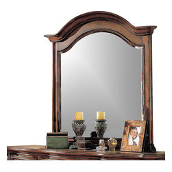 Yuan Tai - Wrigley Beveled Mirror in Cherry Finish - Resin carvings. 3 in. frame thickness. Warranty: Six months limited. Made from solid hardwood and wood veneers. 50 in. W x 50 in. H (34 lbs.)