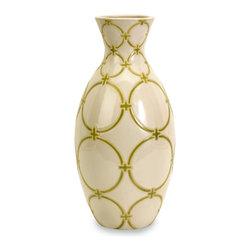 Green and White Graphic Circle  Vase - *The Circle Lattice Vase is unique and fun in design.