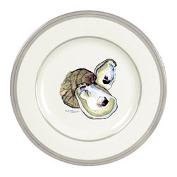 Caroline's Treasures - Oyster Ceramic Dinner Plate Round Platinum Rim - Heavy Round Ceramic Plate with Platinum Rim 10 3/4  inches.  LEAD FREE and dishwasher safe.  The plate has been refired over 1600 degrees and the artwork will not fade or crack. Made by Caroline's Treasure in Mobile, AL