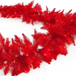 "Red Ashley Pre-lit 9 ft. Garland - You can easily draw attention to any area of your home with the Red Ashley Pre-Lit 9 ft. Garland. This lengthy garland features rich, vibrant red branches to add a fun, celebratory touch to any room. There are plenty of tips to decorate and it's pre-lit with 100 lights so there's no hassle for you.About Sterling, Inc. Located in Kansas City, MO, Sterling, Inc. carries an impressive, diverse selection of holiday decorations and accessories. With items such as miniature ornaments, table-top decorations, novelty lighting, stockings, and theme trees, Sterling, Inc. is recognized as ""One Great Source"" for holiday products. Two categories essential to Sterling, Inc. include Sterling's Forest, which is a full line of lifelike trees, pre-lit trees, wreaths and garlands, and Designer's Studio, which features versatile hand-blown and hand-painted glass. In addition to holiday products, Sterling, Inc. carries an exclusive line of palm trees, creative lighting and lawn decorations. Creating festive outdoor environments is top priority for Sterling, Inc., whose mission is ""To be the leader in our industry by exceeding the expectations of our employees, our employer, our sales agents, and our customers."""