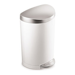 simplehuman - 10 Litre Semi-Round Step Can White Steel, Stainless Steel Lid - This space-saving trash can sits flush against the wall, making it perfect for smaller spaces such as bathrooms or home offices. The easy-to-find pedal opens the top automatically for hands-free operation. And special patented technology ensures a silent closing every time.