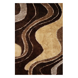 Rug - ~4 ft. x 6 ft. Hand-tufted Brown with Beige Living Room Shaggy Area Rug - Living Room Hand-tufted Shaggy Area Rug