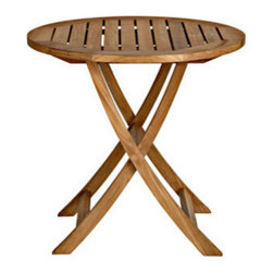 """Cambridge Teak 30"""" Round Folding Bistro Table - *Chairs not included"""
